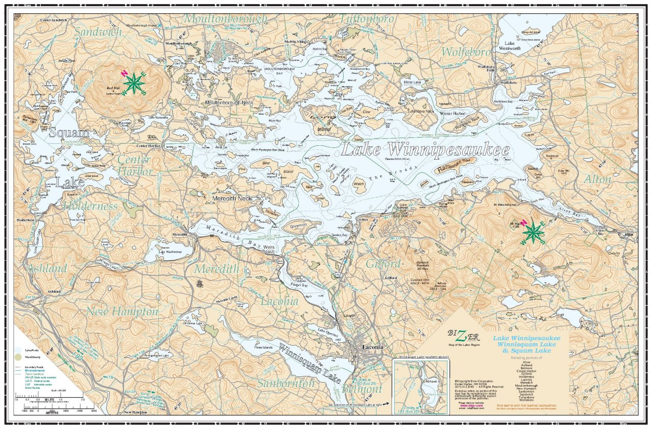 Lake winnipesaukee navigation chart click here to see an enlarged version of bizers lakes region map gumiabroncs Image collections